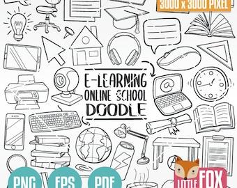 E-LEARNING, Online School Home Doodle. Tele Study Icons Clipart Scrapbook. Education Hand Drawn Line Art Design. Artwork Clip Art Coloring.