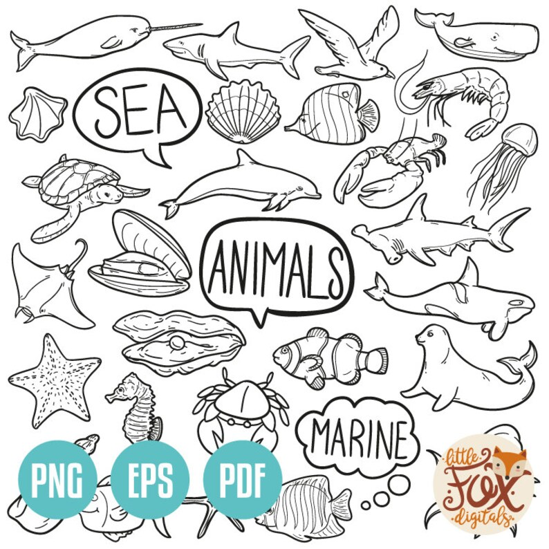 Vector Eps Sea Animals Marine Creatures Doodle Icons Clipart