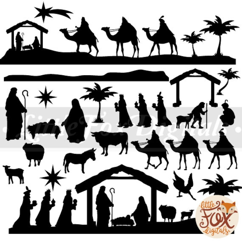 photo about Nativity Silhouette Printable named Child Christ Clipart Xmas Nativity Scene Krippe Mounted Electronic Example Sbook Artwork Props Printable Sbooking Clear PNG