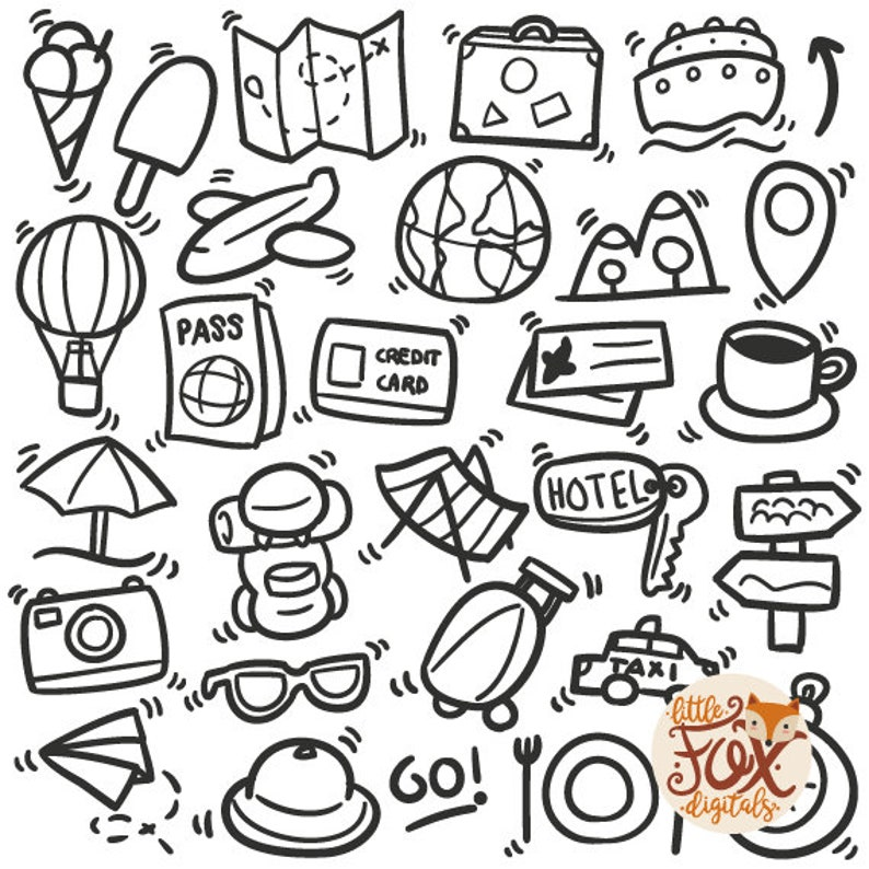 Travel Tourism Vacations Traditional Doodle Icons Clipart