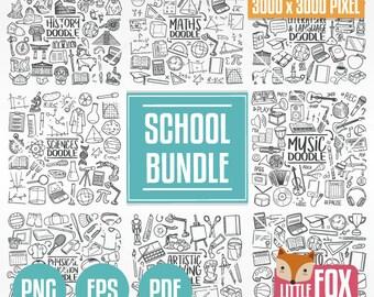 SCHOOL Bundle. Back to School Doodle Icons. Bundle Clip Art Doodle. Set Coloring Hand Draw Line Art Scrapbook. School Subjects Collection.
