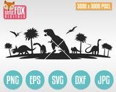 DINOSAURS Scene, Cuttable Design Svg. Dino Silhouette Cut file for cameo, cricut or decal. Landskape Scene Dinosaurs Vector Silhouette.