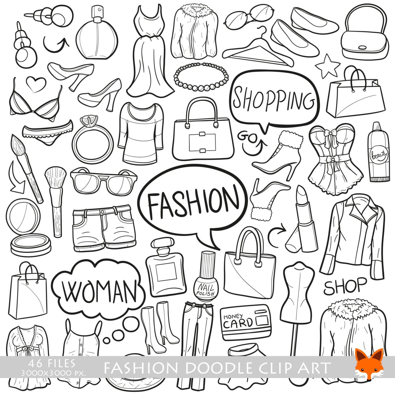fashion shopping day woman doodle icons clipart scrapbook set etsy Fiji Island Village 50