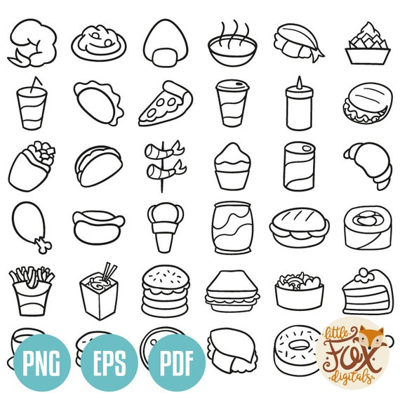 Eps Fast Food Icons Friends And Family Trip Holidays Summer Doodle Icons Clipart Scrapbook Set Design Logotype Logo Design Line Art Sketch