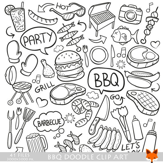 Bbq Barbecue Day Doodle Icons Clipart Scrapbook Set Hand Drawn