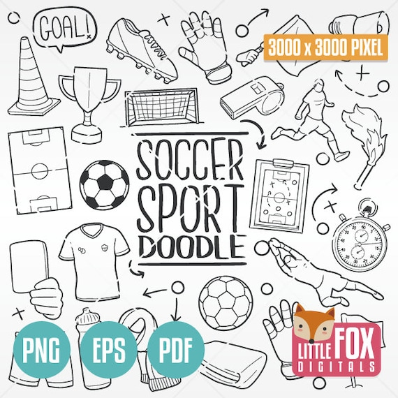 Soccer Football Sport Doodle Icons Game Clipart Scrapbook Etsy