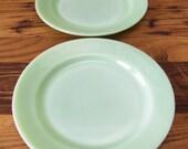 Vintage 9 quot Set of 2 Jadeite Dinner Plates Restaurant Ware by Fire King
