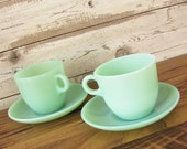 Vintage 4 Piece Jadeite St Denis Tea Cups and Saucers by Fire King