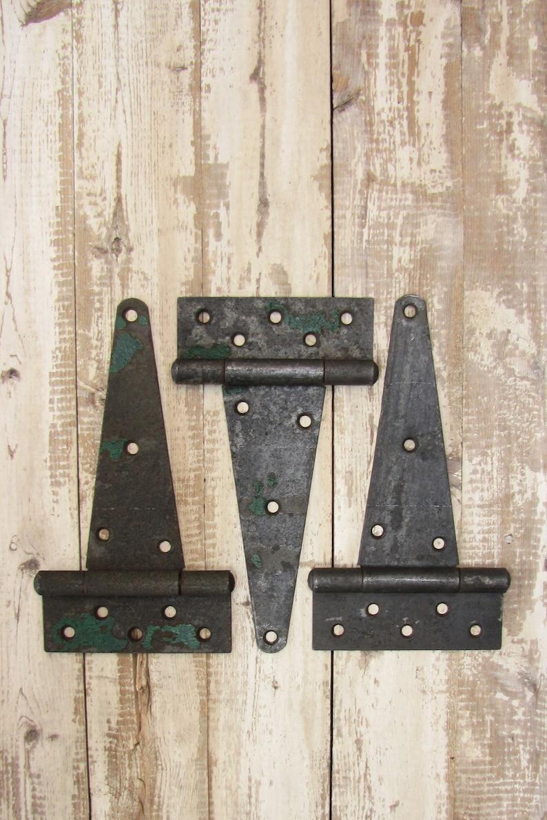 old vtg Antique victorian heavy Iron door Hinges hardware architectural salvage
