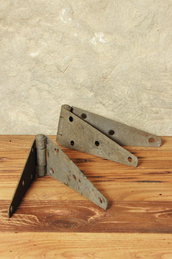 Vintage Pair Of Textured Rustic Metal Barn Door Strap Hinges Set Of 2 Steel  Factory Industrial