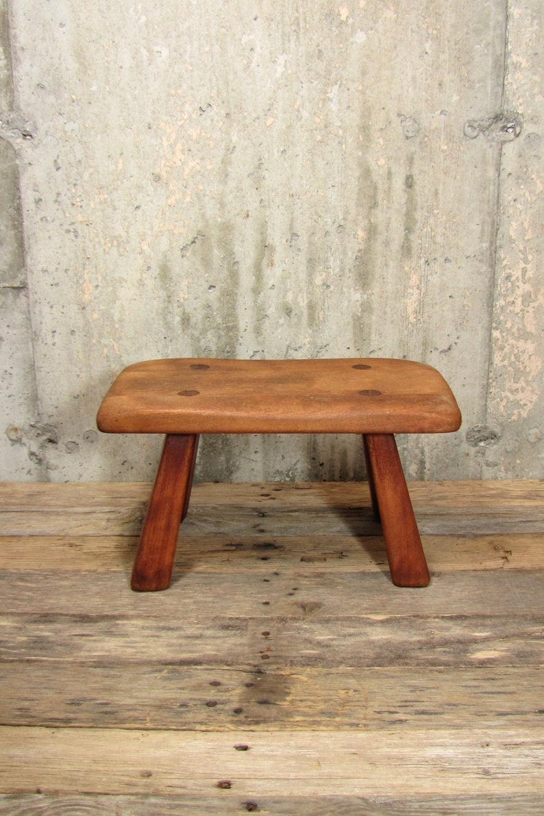 Excellent Vintage Wood Cricket Bench Cushman Wooden Peg Tongue And Groove Farmhouse Milking Stool Bralicious Painted Fabric Chair Ideas Braliciousco