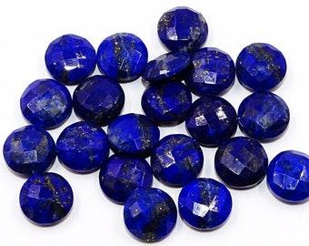 2 Pieces Natural Lapis Lazuli Faceted Loose Gemstones Lot 17mm Round Shape Rare Lapis Cut Stone Semi Precious Gems