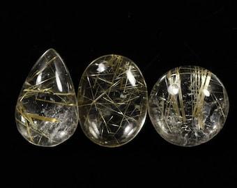 1 Piece Natural Golden Rutile Cabochon 13x18mm Oval Shape Genuine Rutile Quartz Gemstone Cabs Loose Stones Semi Precious Gems Cab