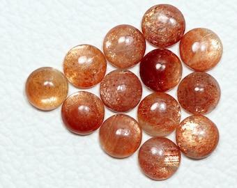 6 MM Round Natural Sun Stone Loose Cabochon Sun Stone Round Shape Cabs Natural Gemstone Handmade Cabochon 20 Pc
