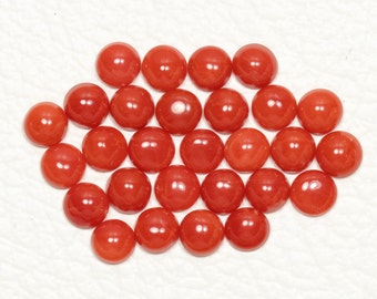 2MM Tiny Loose Round Cabochons Red Orange Coral Flat Back Gemstone Cabs 100 pcs