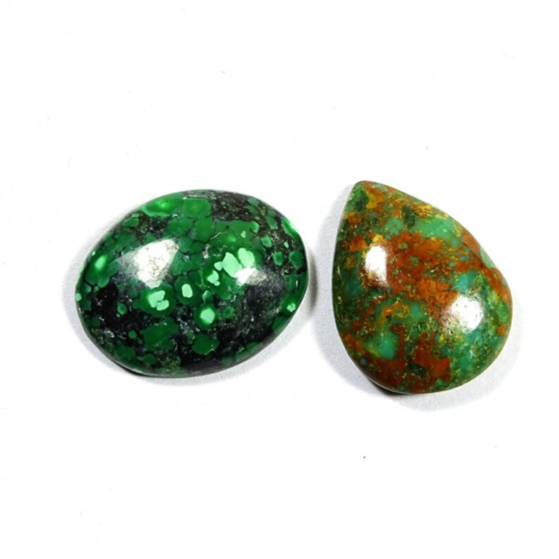 2 Pieces Natural Tibetan Turquoise Cabochons Lot 17x22mm to 16x21mm Mix Shape Cabs Genuine Turquoise Gemstones Cab Smooth Gems