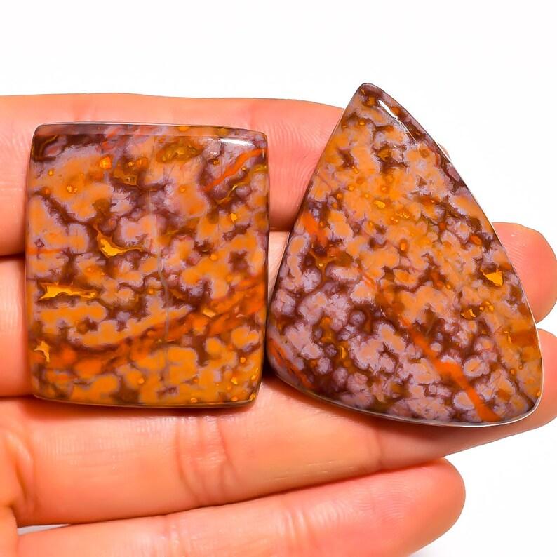 Natural Jasper Gemstones Cabs Smooth Gems Loose Stones Semi Precious Cab 2 Pieces Ocean Jasper Cabochons Lot 30x35mm to 35x45mm Mix Shape