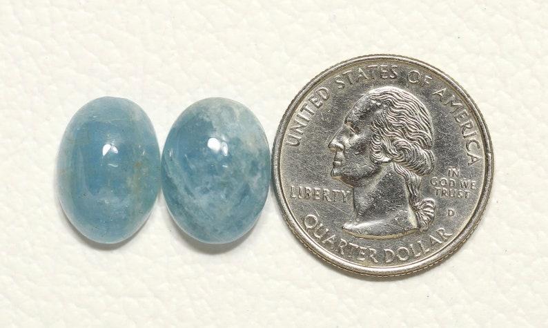 2 Pieces Natural Aquamarine Cabochons Lot 11x16mm to 12x16mm Oval Shape Rare Aquamarine Gemstones Cabs Loose Stones Smooth Gems C-17644