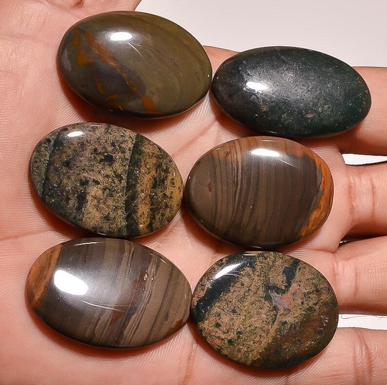 Natural Jasper Gemstone Cabochon Wholesale Price 6 Pieces Polygram Jasper Cabochons Natural Gemstones cab Gems 51 Grams Loose Gemstone