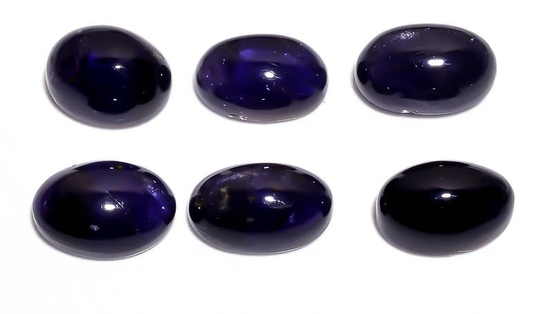 3 Pieces Natural Iolite Cabochons Lot 8.7x13mm to 9.5x13.5mm Oval Shape Genuine Blue Iolite Cabs Smooth Gems Loose Gemstones
