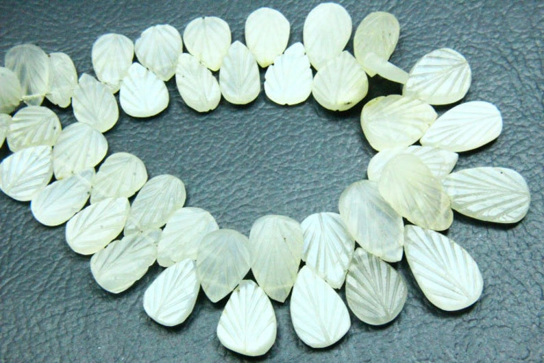 Moonstone Bead Real Gemstone Pear Shape Size 11x17mm-8x12mm Natural Stone 8.50 Full Strand Natural Moonstone Carving Gemstone Briolette
