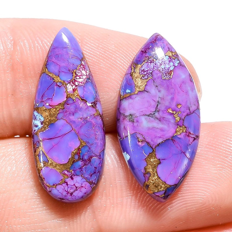 2 Pieces Mojave Copper Turquoise Cabochons Lot 9x23mm to 11x22mm Mix Shape Purple Turquoise Gemstones Smooth Gems Cabs  Loose Stones