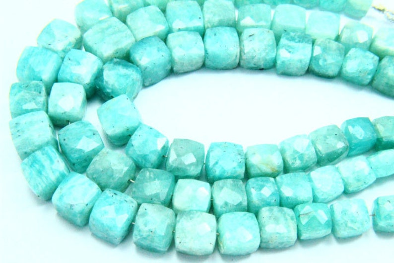 7.50 Full Strand Natural Amazonite Gemstone Size 4mm-8mm Natural stone Real Gemstone Faceted Cube Shape