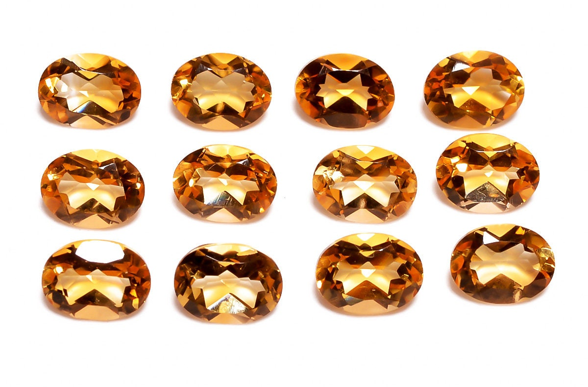 12 Pieces Aaa Citrine Faceted Loose Gemstones Lot 6x8mm