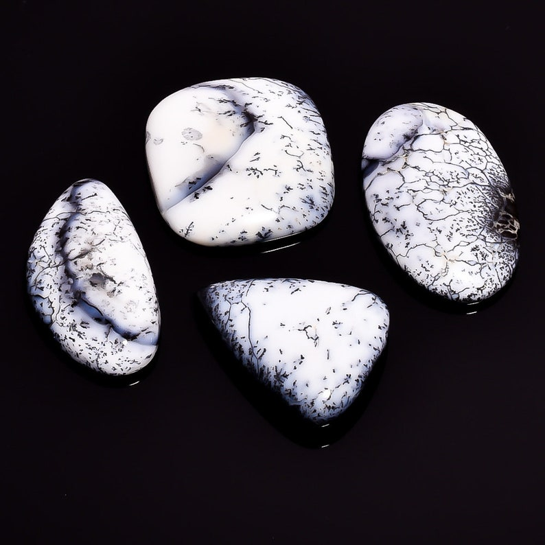 4 Pieces Natural Dendrite Opal Cabochons Lot 19x35mm to 29x30mm Mix Natural Opal Gemstone Cabs Loose Stones Smooth Gems Semi Precious Cab