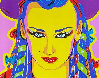 BOY GEORGE, art, print, pop art, pop music, 80s. 90s, drag, fashion, pop culture , culture club