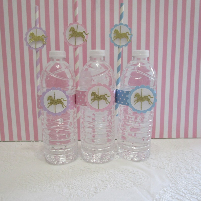 PERSONALISED CAROUSEL HORSE WATER BOTTLE LABELS BIRTHDAY PARTY FAVOURS GIFTS
