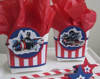 ONLY 2 SETS LEFT! Marvel Captain America Party Favors, Captain America Favor Boxes, Favor Boxes, Captain America Favor Bags Qty 10.