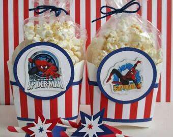 ONLY 5 SETS LEFT! Spiderman Favor Boxes, Marvel Spiderman Party Favors,Spiderman Party, Spiderman Birthday Favors, Spiderman Popcorn Bags.