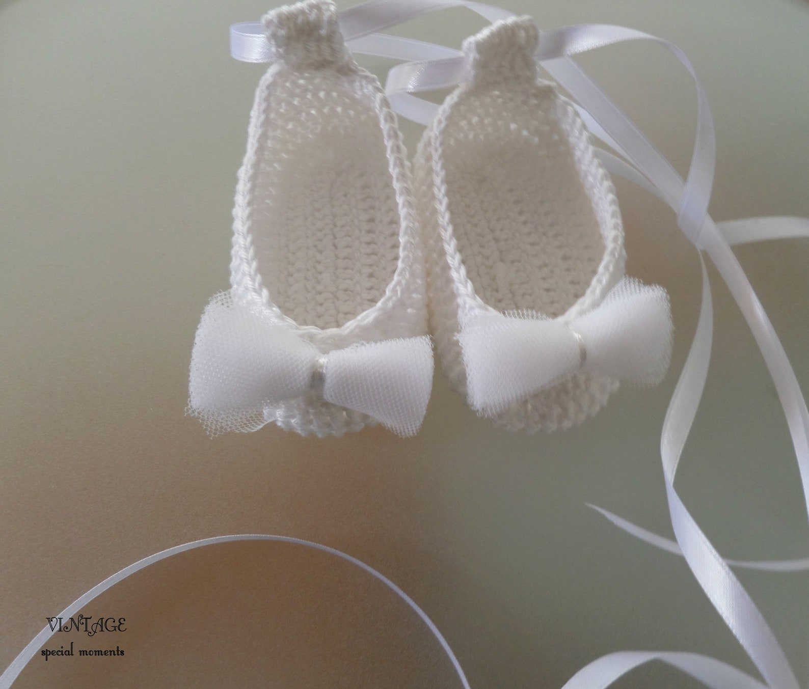 ballet booties for baby girl with tulle bow/handmade crochet baby fashion/new baby girl gift/beautiful crochet/ ready to ship