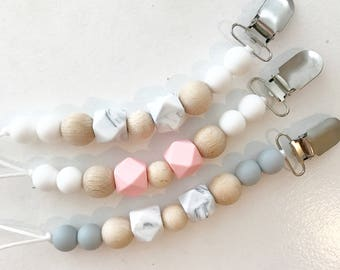 Beaded Pacifier Clip - Silicon Beads - Wooden Beads - Pacifier Clip - Binky Clip - Baby Teether - Baby Soother - Pacifier Holder