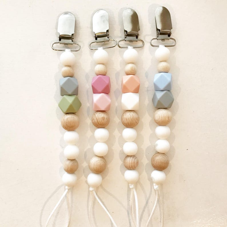 Beaded Pacifier Clip  Silicon Beads  Wooden Beads  Paci image 0