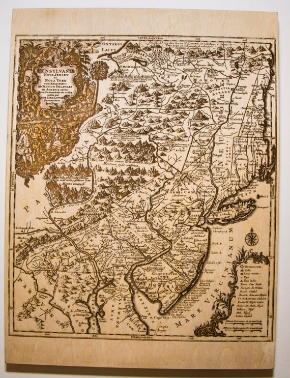1756 Lotter Map Of Pennsylvania New Jersey And New York Etsy