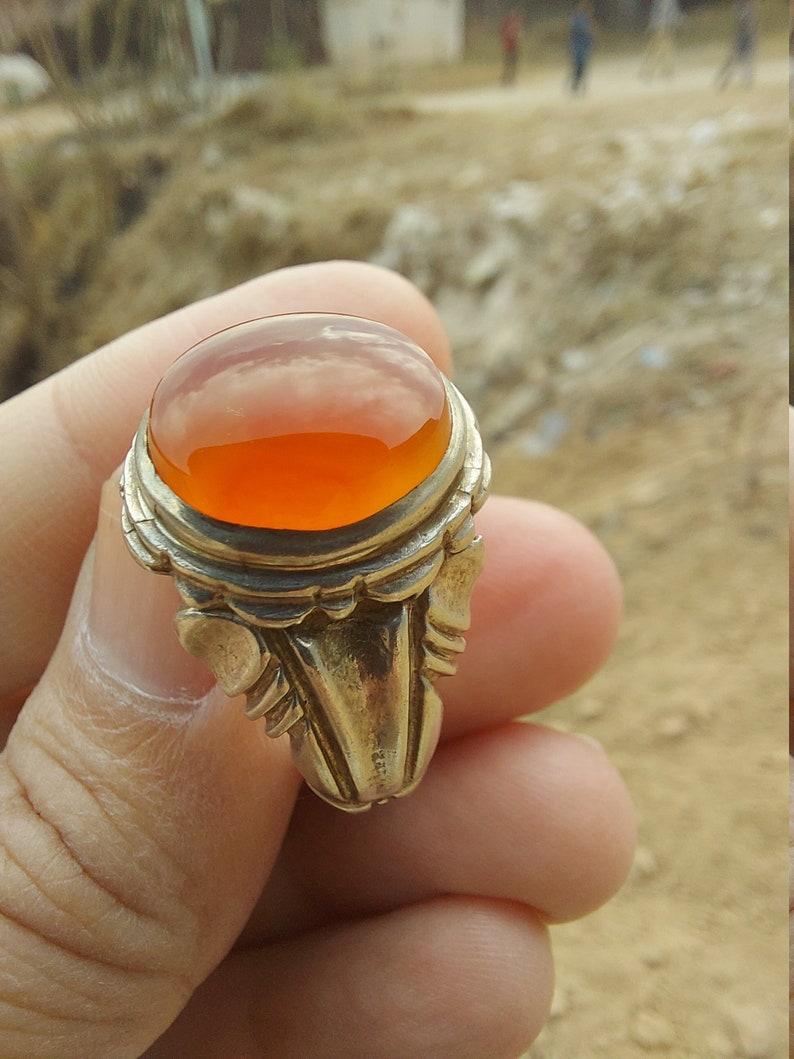 ORANGE  Yemeni Aqeeq Silver Ring handmade Sterling  Silver Agate Akik Shia Sufi Men Ring Any Size