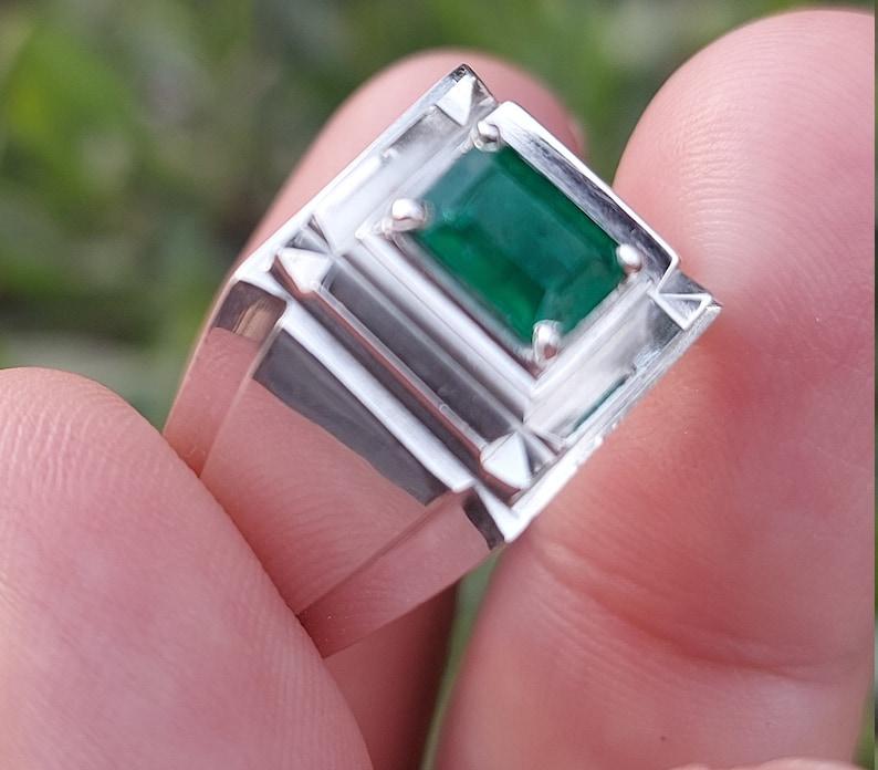 100/% Natural GREEN EMERALD Silver Ring handmade SWAT Zamarud Men Ring All Sizes