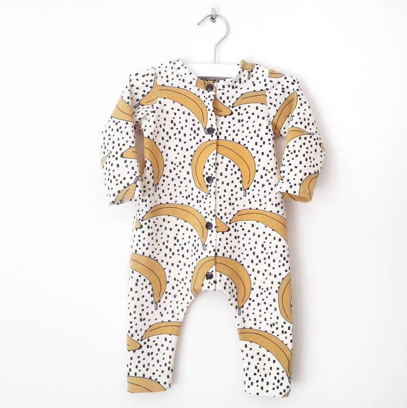 Babykleding Print.Boxpakje Met Bananen Print Baby Slaappakje Met Banaan Etsy