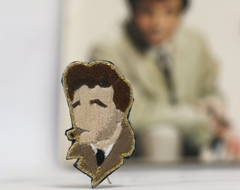 Embroidered brooch, hand sewn Columbo's brooch,embroidered jewel portrait,cameo brooch, Peter Falk