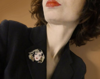 Debbie brooch, embroidery, embroidered brooch, portrait, rock brooch, chic jewel