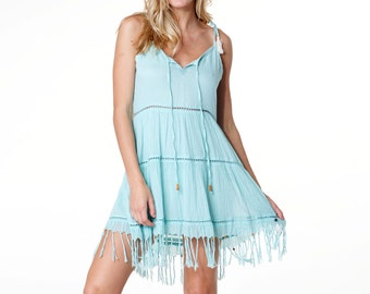 c37d264f5533 Santorini Boho Chic Blue Low Back Dress with Bead   Tassel Adornments. Fun  Beach Party   Cruise Vacation Dress
