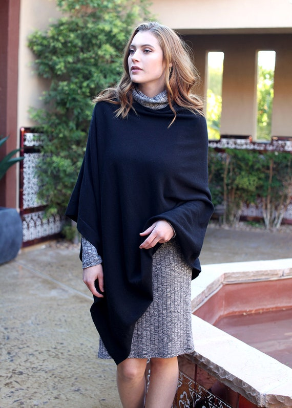 Organic Cotton Soft Poncho Sweater Wrap (Black). Eco friendly Holiday Gift Ideas for Her