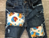 Boys Lion King birthday shorts Simba cut offs jeans denim shorts distressed patched