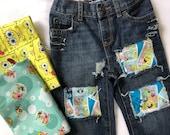SpongeBob Squarepants birthday jeans fabric ripped distressed patches spongebob boys toddlers