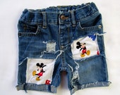 Mickey Mouse birthday shorts distressed ripped made from mickey fabric