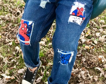 Boys Spiderman Ripped Jeans Spiderman Birthday Spider Patchwork Boys Distressed Boys Pants