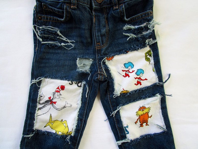 Dr Seuss birthday baby shower patch jeans distressed ripped image 1