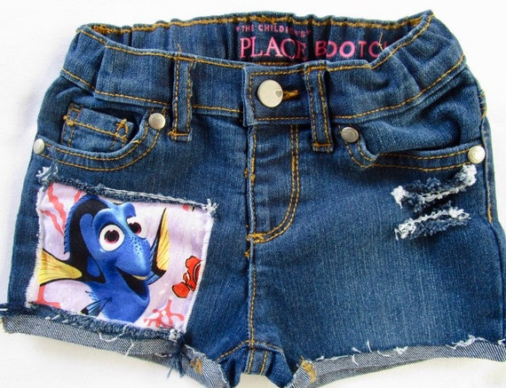 Finding Dory Nemo birthday Disney shorts girls do distressed patched denim cut offs made with dory fabric